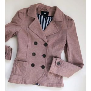 H&M Pink Fitted Double Breasted Blazer Jacket
